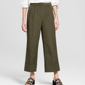 WHO WHAT WEAR Wide Leg Tailored Crop Trouser Green